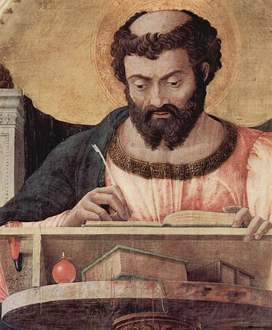 Detail of the St. Luke altarpiece by Andrea Mantegna